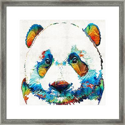 Colorful Panda Bear Art By Sharon Cummings Framed Print by Sharon Cummings