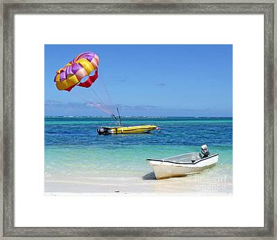 Colorful Parachute - Waiting To Parasail Framed Print by Val Miller