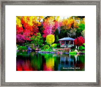 Framed Print featuring the painting Colorful Park At The Lake by Bruce Nutting