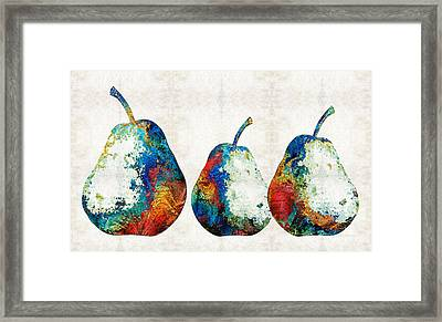 Colorful Pear Art - Three Pears - By Sharon Cummings Framed Print by Sharon Cummings