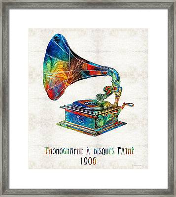 Colorful Phonograph Art By Sharon Cummings Framed Print by Sharon Cummings