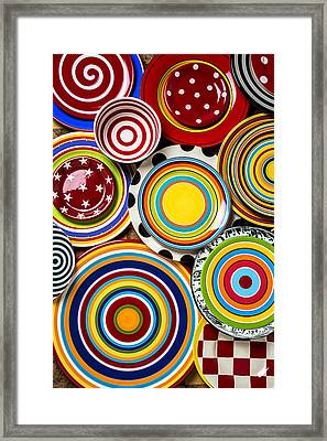 Colorful Plates Framed Print by Garry Gay