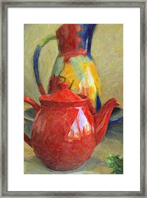 Colorful Pottery Framed Print by Kenny Francis