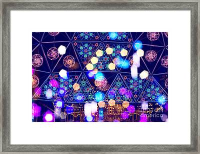 Colorful Psycedelic Lights And Shapes At Amusement Park Framed Print