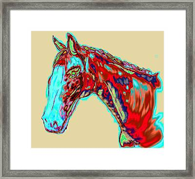 Colorful Race Horse Framed Print by Mark Moore