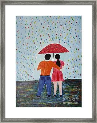 Colorful Rain Framed Print by Jnana Finearts