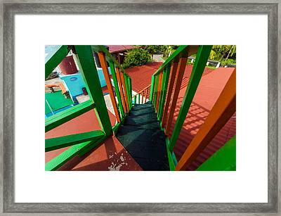 Colorful Red And Green Staircase Framed Print by Jess Kraft