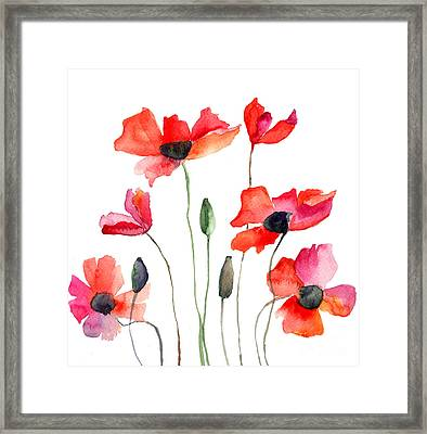 Colorful Red Flowers Framed Print