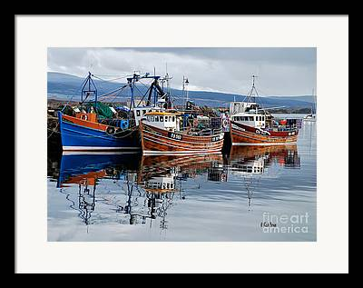 Reflection Of Boats In Water Framed Prints