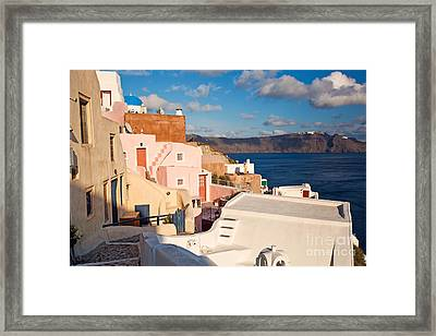 Colorful Residential Town Framed Print by Aiolos Greek Collections