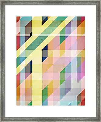 Colorful Retro Stripes Collage Framed Print