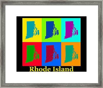 Colorful Rhode Island Pop Art Map Framed Print by Keith Webber Jr