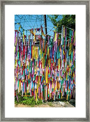Colorful Ribbons At The High Security Framed Print by Michael Runkel