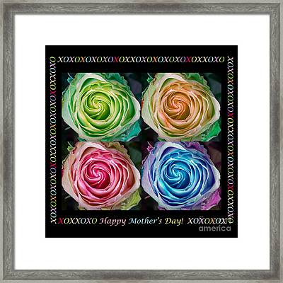 Colorful Rose Spirals Happy Mothers Day Hugs And Kissed Framed Print by James BO  Insogna