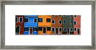 Colorful Row Houses, Burano, Venice Framed Print
