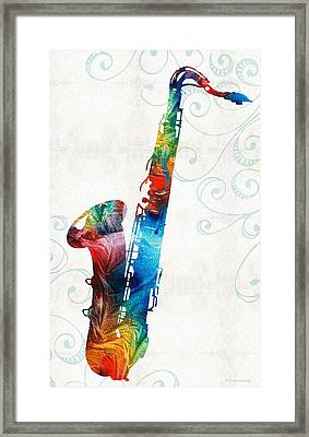 Colorful Saxophone 3 By Sharon Cummings Framed Print by Sharon Cummings