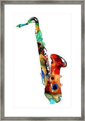 Colorful Saxophone By Sharon Cummings Framed Print by Sharon Cummings