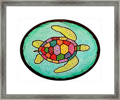 Colorful Sea Turtle Framed Print