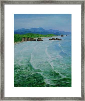 Colorful Seascape Oregon Cannon Beach Ecola Landscape Art Painting Framed Print
