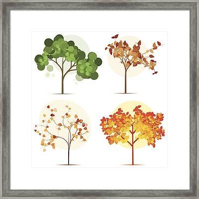 Colorful Seasonal Trees Framed Print by Calvindexter