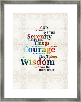 Colorful Serenity Prayer By Sharon Cummings Framed Print