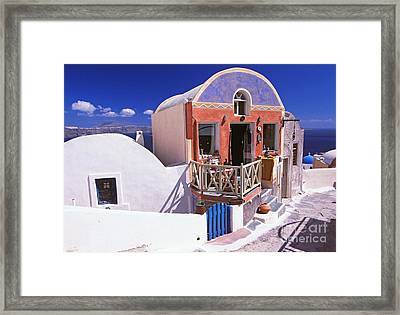 Colorful Shops In Oia Framed Print by Aiolos Greek Collections