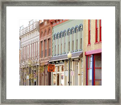 Colorful Shops Quaint Street Scene Framed Print by Ann Powell