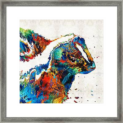 Colorful Skunk Art - Dee Stinktive - By Sharon Cummings Framed Print by Sharon Cummings