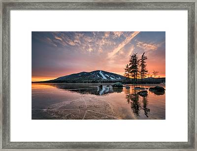 Colorful Sky And Frozen Pond Framed Print