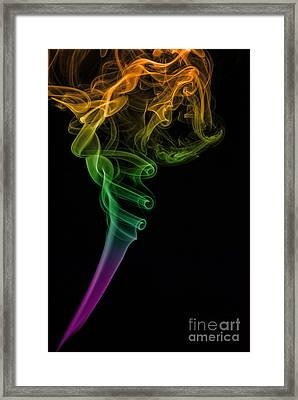 Colorful Smoke Abstract On Black Framed Print