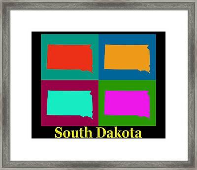 Colorful South Dakota Pop Art Map Framed Print by Keith Webber Jr