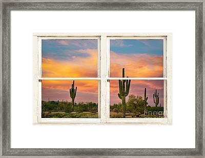 Colorful Southwest Desert Rustic Window Art View Framed Print