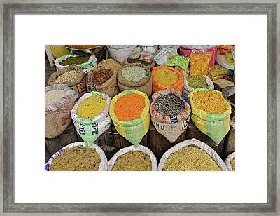 Colorful Spices At Vegetable Market / Framed Print by Adam Jones