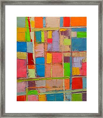 Colorful Spring Mood - Abstract Expressionist Composition Framed Print by Ana Maria Edulescu