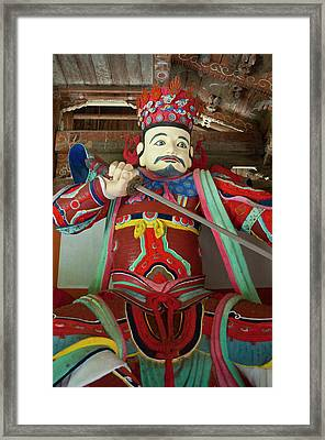 Colorful Statue At The Buddhist Framed Print