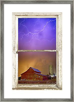 Colorful Storm Farm House Window View Framed Print