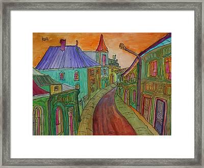 Colorful Street Framed Print by Oscar Penalber