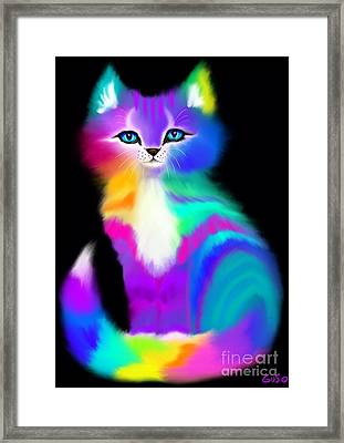 Colorful Striped Rainbow Cat Framed Print