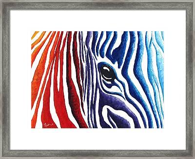 Colorful Stripes Original Zebra Painting By Madart Framed Print by Megan Duncanson