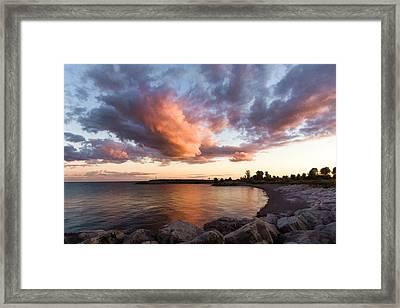 Colorful Summer Sunset - Lake Ontario Impressions Framed Print by Georgia Mizuleva