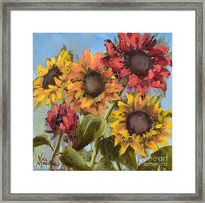 Colorful Sunflowers Framed Print by Vic  Mastis