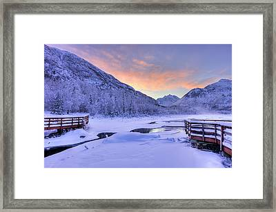 Colorful Sunrise Over A Stream Framed Print