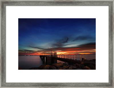 Framed Print featuring the photograph Colorful Sunset At Hong Kong Airport by Afrison Ma