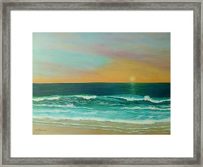 Colorful Sunset Beach Paintings Framed Print by Amber Palomares