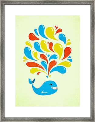 Colorful Swirls Happy Cartoon Whale Framed Print