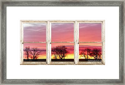 Colorful Tree Lined Horizon White Barn Picture Window Frame  Framed Print