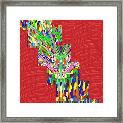 Framed Print featuring the photograph Colorful Tree Of Life Abstract Red Sparkle Base by Navin Joshi