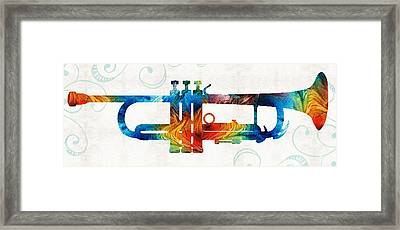 Colorful Trumpet Art Color Fusion By Sharon Cummings Framed Print by Sharon Cummings