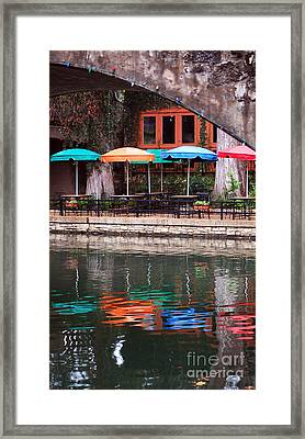 Colorful Umbrellas Reflected In Riverwalk Under Footbridge San Antonio Texas Vertical Format Framed Print by Shawn O'Brien