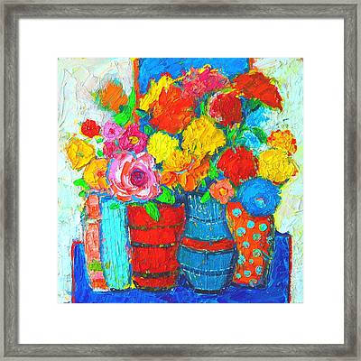 Colorful Vases And Flowers - Abstract Expressionist Painting Framed Print